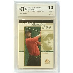 2001 Tiger Woods SP Authentic Preview AG 51 BCCG MINT (10)